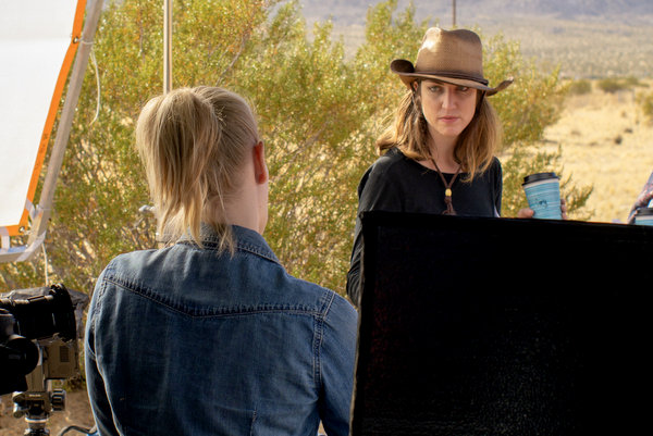 Sarah Navratil and Carly Miller on the set of Service Road